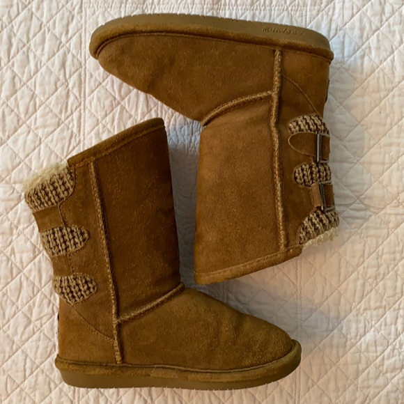 BearPaw🐻🐾 Boshie Suede & Wool Lined Buckle Boots
